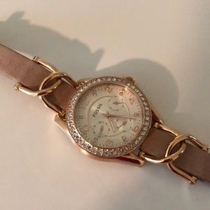 Fossil Gold and Leather Strap Watch